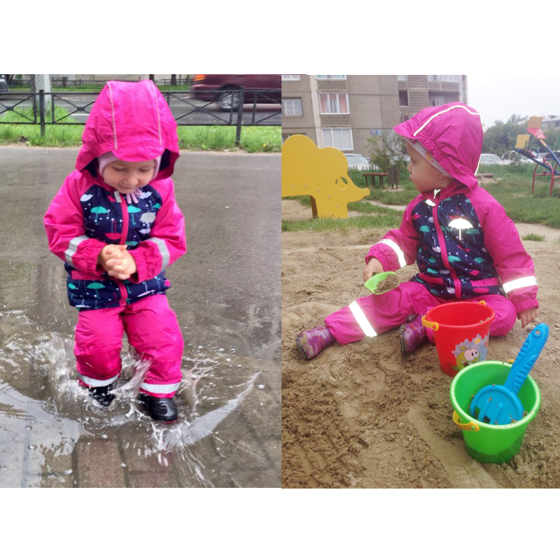 Kids Waterproof Windproof Girls Jacket Suit+Overalls Child Raincoat Reflective Article Warm Polar Fleece For 1-3T Kids Outerwear