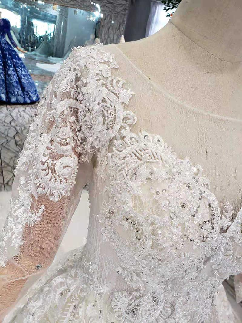 LS5533G простой Boho свадебный наряд 2019 круглый вырез с длинными рукавами пляжные свадебные платья а-силуэта 11,11 Акция скидка