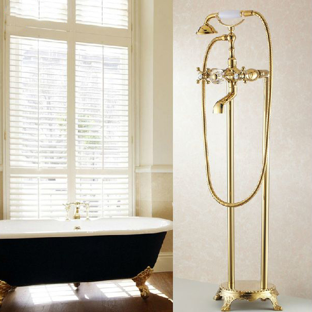 Bathtub Faucets Bathroom Gold Floor Stand Faucets Telephone Type ...