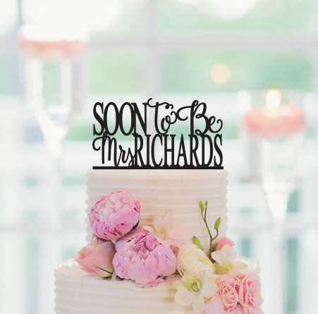 personalized cake topper soon to be mrs custom last name bridal shower cake topper engagement wedding cake topper in cake decorating supplies from home