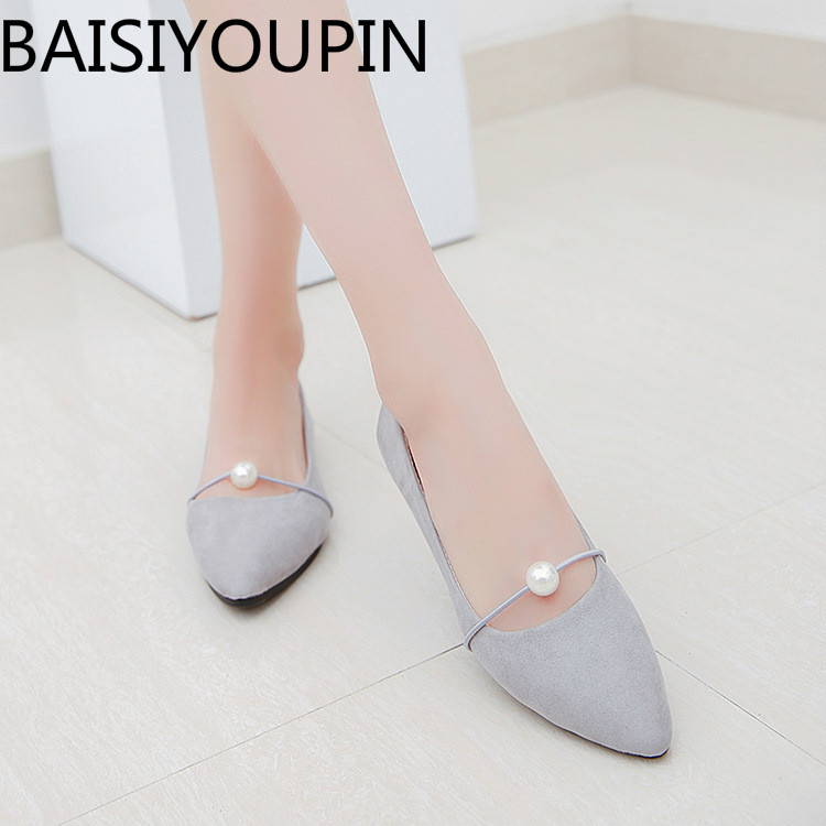 2018 Spring New Pointed Shoes with Flat Pearl All-match British Students Doug Shoes Women Flats Shoes for Female Single Shoes cresfimix women cute spring summer slip on flat shoes with pearl female casual street flats lady fashion pointed toe shoes