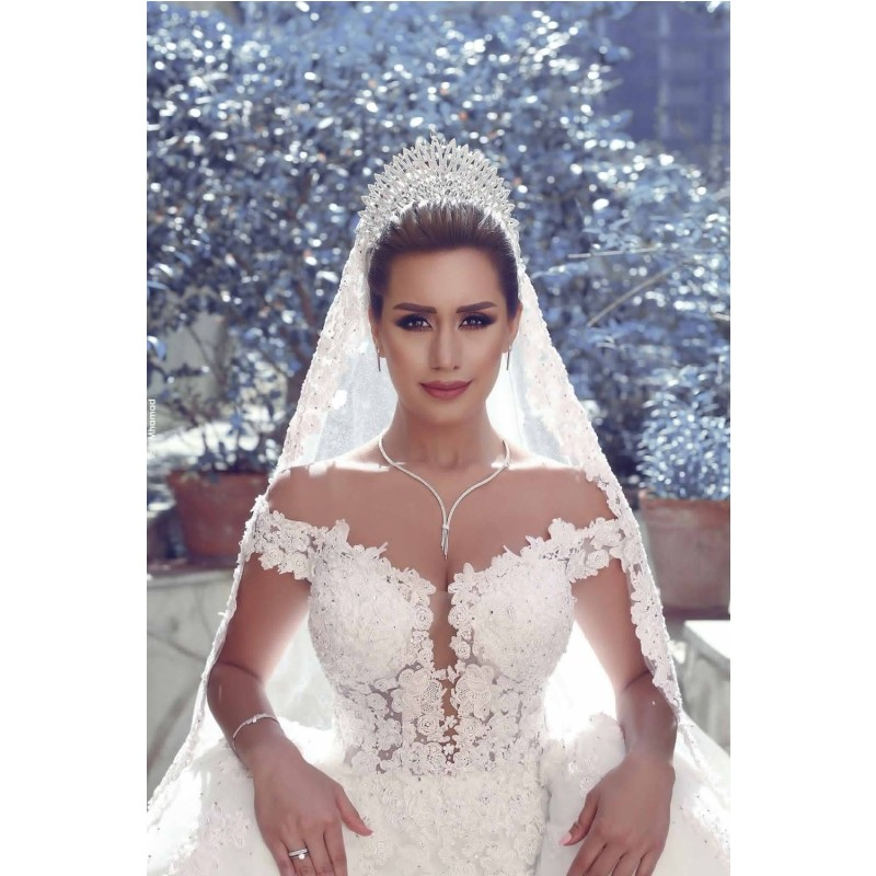 Fashion New Sexy Open Back Ball Gown Wedding Dress Off Shoulder