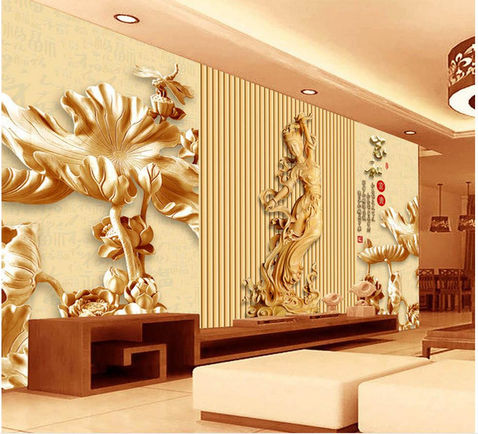 3d customized wallpaper Chinese style wood carving Lotus Fairy Wall ...