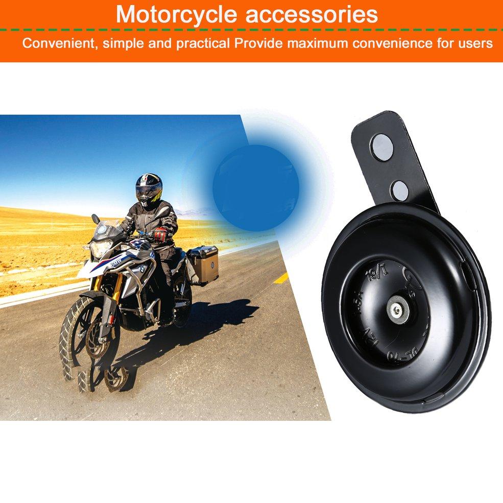 105 db Round Motorcycle Loud Horn Speakers Kit Black Scooter Moped Dirt Bike ATV 12V 1.5A Universal Waterproof Auto Horns Loud Speaker
