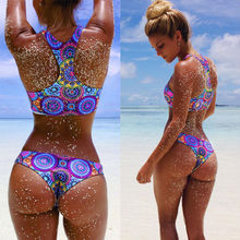 Hot Sexy Women Bikini Set Push Up Padded Swimwear Swimsuit Bathing Beachwear Bohemia Printing Top and Bottom Bikinis Suit