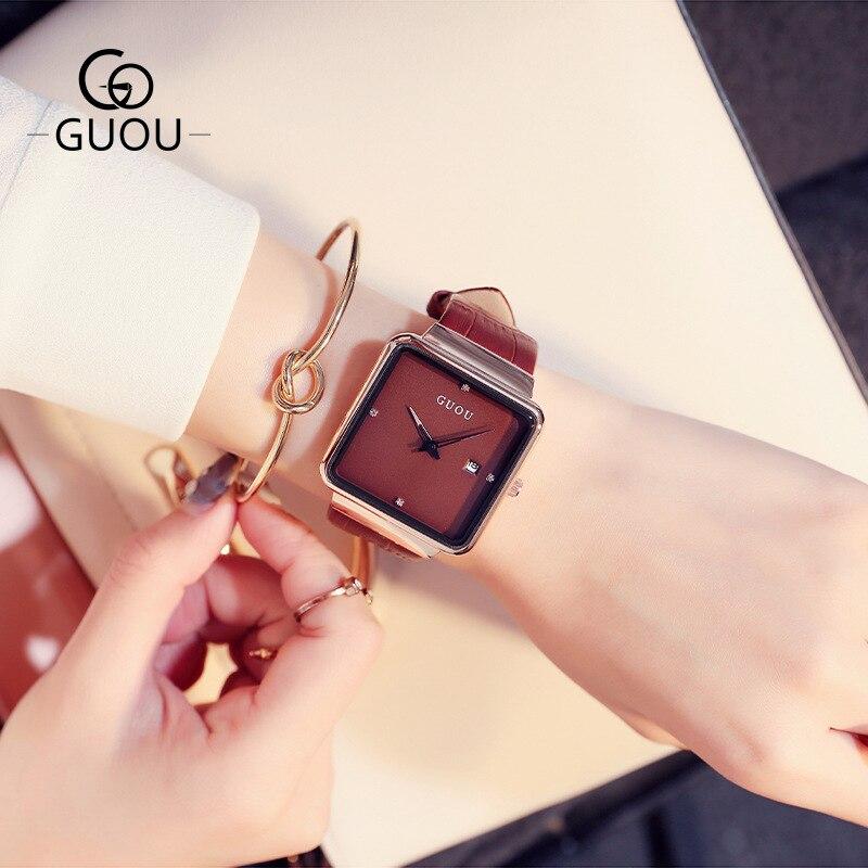 GUOU Women Luxury Square Wrist Watches Women Watches Genuine Leather Ladies Watch Clock Montre Femme Relogio