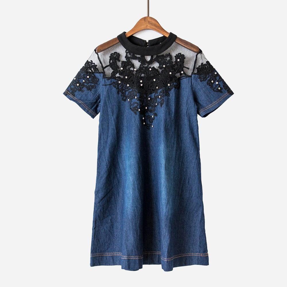 982ac0535b8 Mesh Embroidery Denim Dress Patchwork Loose A line Summer Dress Mini Dress  Jeans Women Short Sleeve Plus Size S 4XL D6628-in Dresses from Women s  Clothing ...