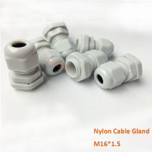 100pcs/lot Waterproof Plastic White 4~8mm Wire Cable Glands M16