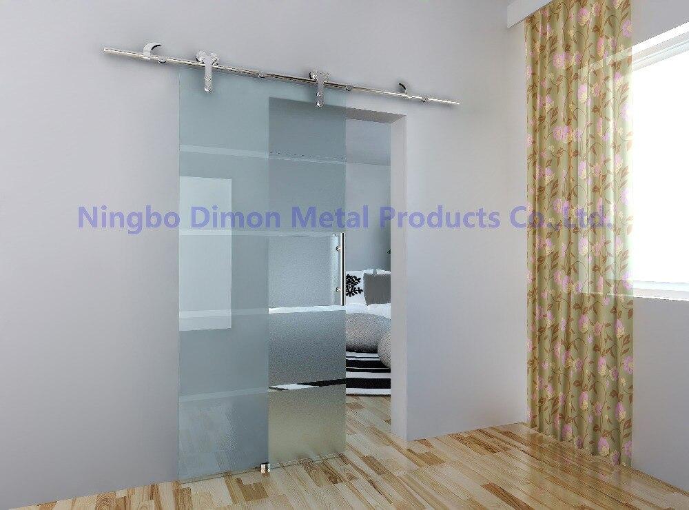 Livraison gratuite Dimon vente chaude style américain en acier inoxydable 304 satin verre porte coulissante grange matériel DM-SDG 7008 sans barre - 2