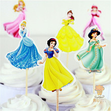 48Pcs/lot 6 Designs Of Princess Cupcake Toppers Picks Cartoon Theme Party Decorations Baby Shower Kids Birthday Party Favors