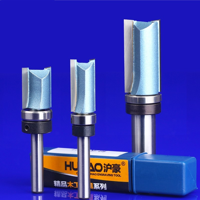 4pcs 1/4 shank trimming cutters with bearing furniture carving milling cutter wood working tools end mill router bits 1 2 shank router bit milling cutters for doors woodworking tool trimming flooring wood tools
