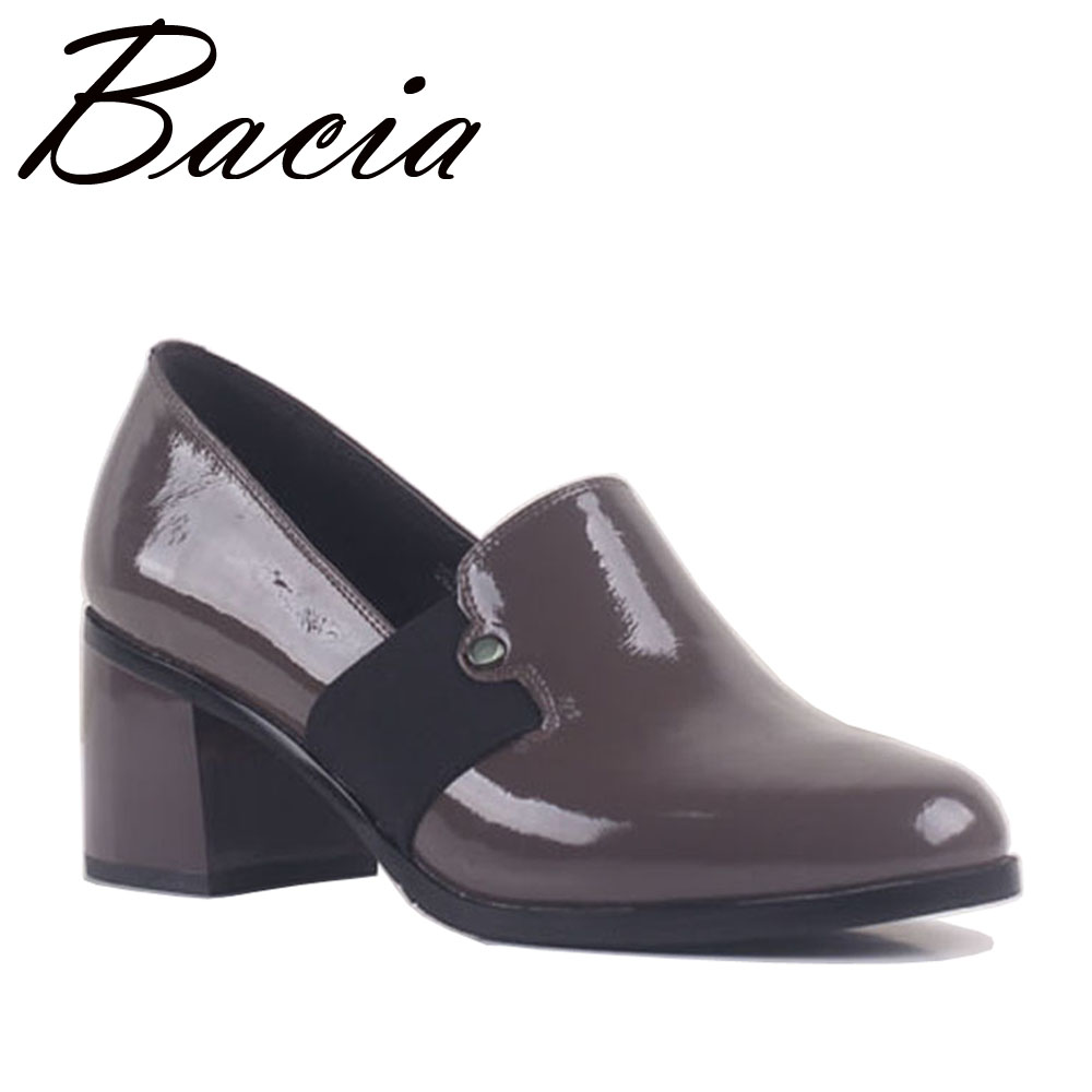 Bacia Apricot Natural Leather Pumps 6cm Thick Heels Slip on Handmade Genuine Leather Quality Shoes Round Toe Shoes SB013