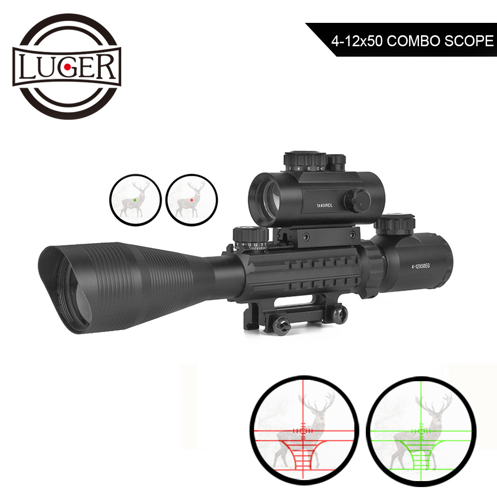 LUGER 4-12X50 Illuminated Rangefinder Reticle Rifle Scope +1X40RDL Red Green Dot Hunting Scope With Laser Sight Combo Riflescope