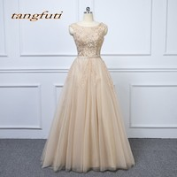 Sexy Long Champagne Evening Dresses Luxury A Line Party Beaded Beautiful Women Prom Formal Evening Gowns Dresses Wear 2018 LM111