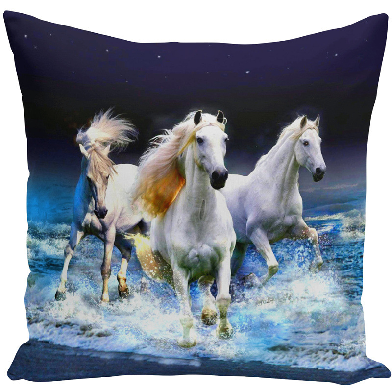 Image 3 - Throw Pillow Bts Case 45x45 Animal Print War White Horse Cushion Cover Sets for Chair Sofa Decorative Home Farmhouse Decor-in Cushion Cover from Home & Garden