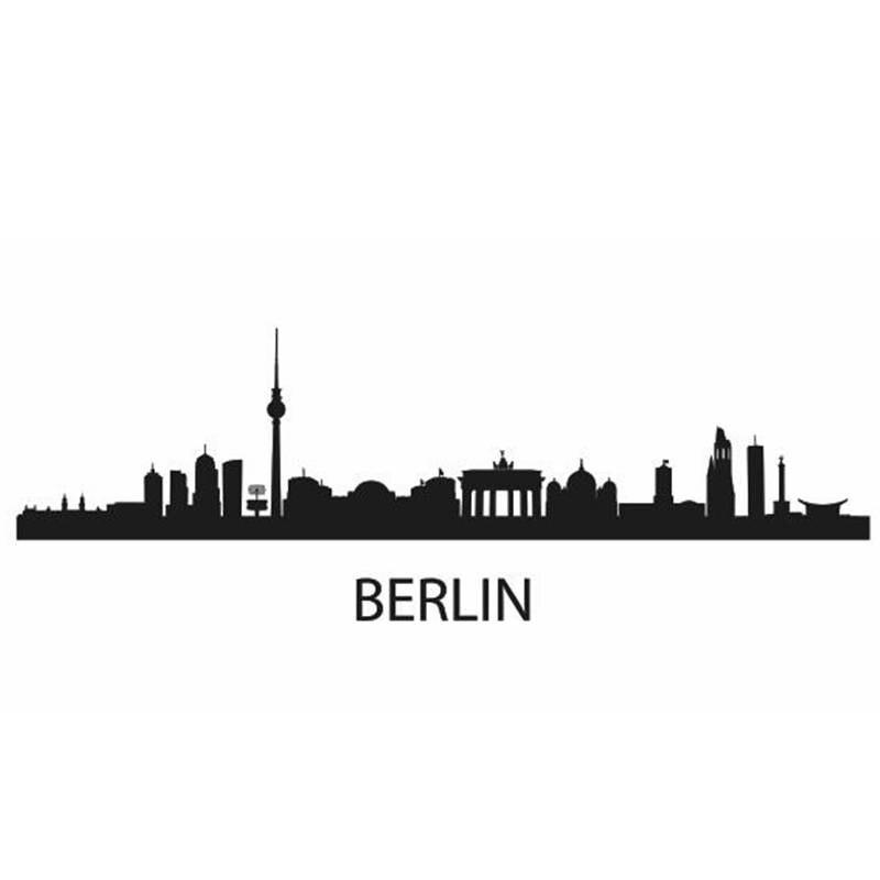 Muurstickers Den Haag.Berlijn Stad Decal Landmark Skyline Muurstickers Schets