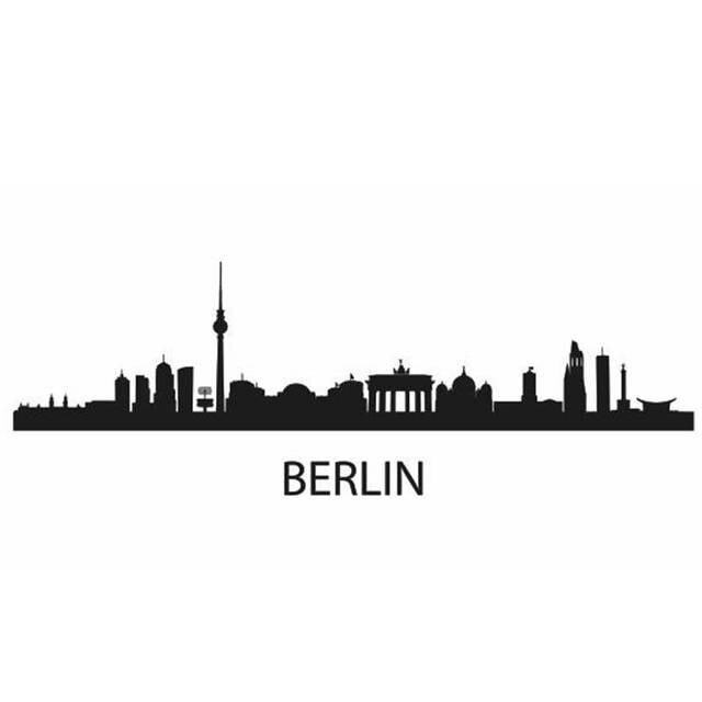 Muurstickers Den Haag.Berlijn Stad Decal Landmark Skyline Muurstickers Schets Decals