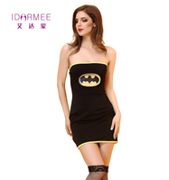 IDARMEE Black Datman Costume Adult Women Halloween Costume Out Off Shoulder Sexy Cosplay Cubwear Mini Dress