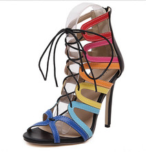 2016 Brand Women Sexy Sandals Cross-tied High Heel Sandals Open Toe Summer High Heeled Sandals Gladiator Genuine Leather Shoes