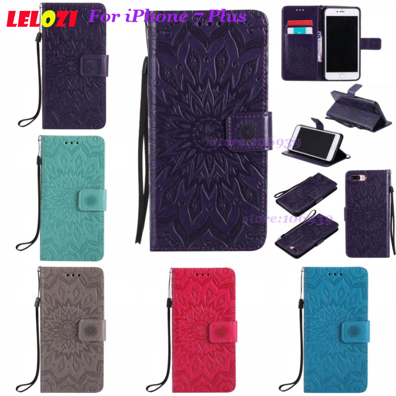 LELOZI Telephone Stylish TPU PU Leather Flip Wallets Wallt Filp Case Cove For iPhone 7 Plus 5.5 7Plus iPhone7Plus Blue Brown