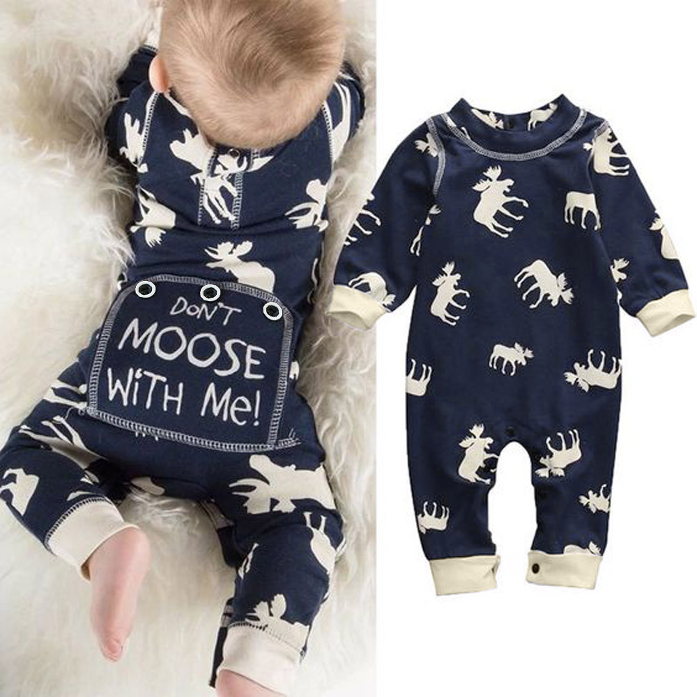 Newest baby clothes Toddler Infant Baby Girl Boy Long Sleeve Deer   Romper   Jumpsuit Pajamas Outfits don't moose with me infantil