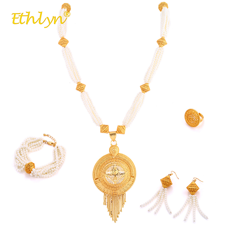 Ethlyn perles africaines ensemble de bijoux haut de gamme ensemble de bijoux de luxe pour femmes collier de perles blanches/boucles d'oreilles gland/bague/Bracelet doré 4 pièces