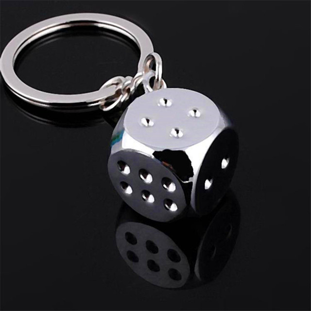 Car Motorcycle Bicycle Personality Dice Alloy key chain fashion Concise buckle c