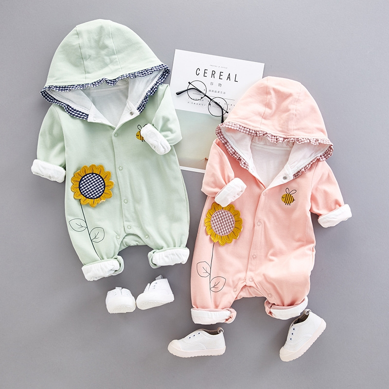 newborn spring autumn long sleeve Jumpsui set flower clothing cotton bebe romper casual 3-12M baby boy girls clothes outerwear