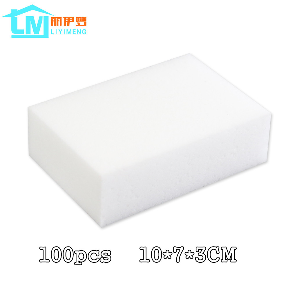 100 Pcs White Melamine Magic Sponge Eraser Kitchen Office Bathroom
