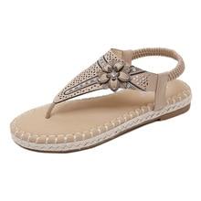 2019 Fashion Flat Sandals Women Summer Shoes Bohemia Flowers Rhinestone Gladiator Beach Large Size 35-42