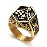 Religiöse Freimaurer AG einfache retro titan stahl ring herren ring (RI103128)