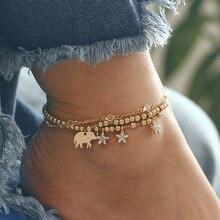 3pc/set Bohemian Beaded Anklet Set Elephant Star Multilayer Crystal Pendant Bracelet on foot women girl Party Leg Jewelry