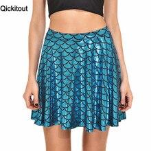 Qickitout Skirts 2016 Free Ship High Waist Mermaid Color Scales skater Flare Fkirt Mini Skirt Womens Above Knee Skirt S 4XL