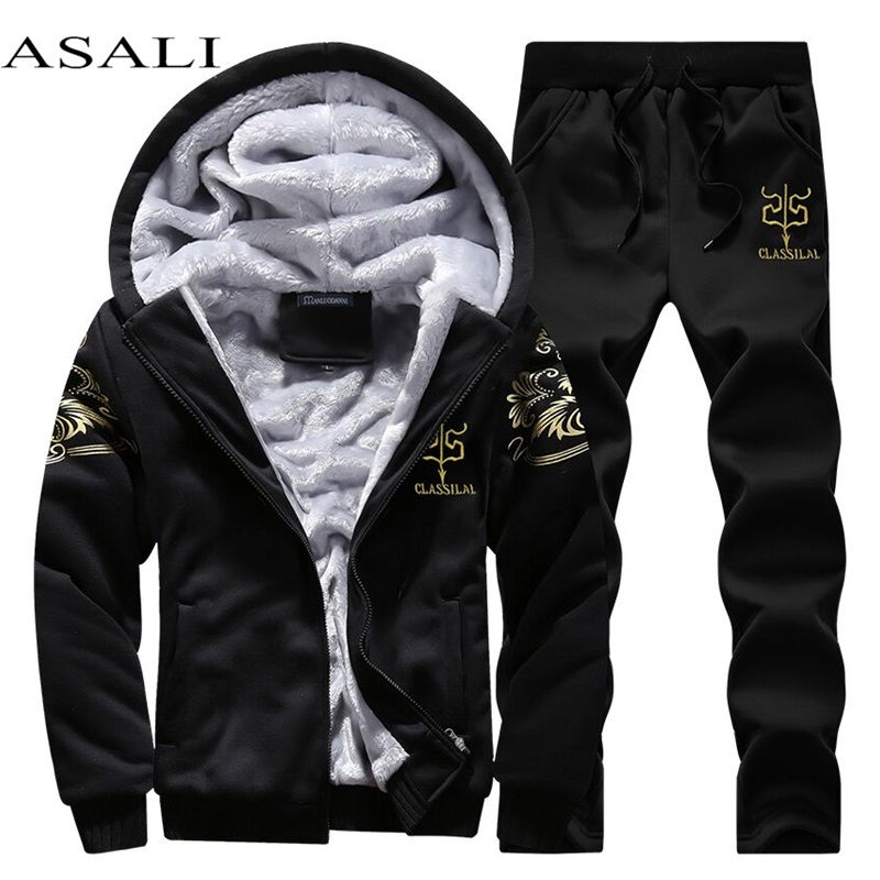 Lässige Herren gesetzt Winter Marke Zweiteilige Sätze Alle Baumwolle innere Fleece Dicken Kapuze 2 STÜCK Jacke + Pants Sporting Anzug Männlich