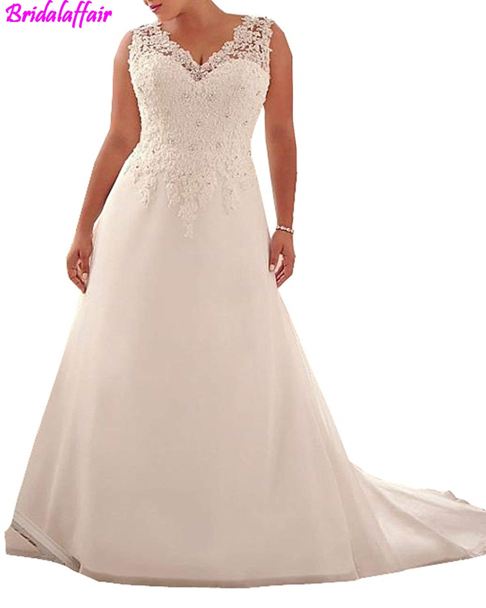 2018 a line Wedding Dress Applique with Beading Long Bridal Dress for Women's bridal dress sexy wedding dress vestiti da sposa