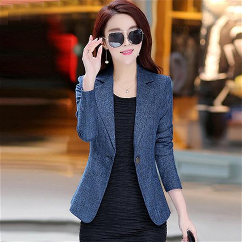 Fashion Autumn New Slim Ladies Long Sleeve Casual Ol Temperament Women Blazers Jacket Large Size S-4XL Small Suit Jacket