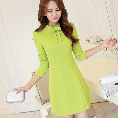 e24eedb247 Nueva caída adolescentes de manga larga vestido verde con pajarita coreana  de moda del Color brillante de la señora joven vestidos banquete de boda en  ...