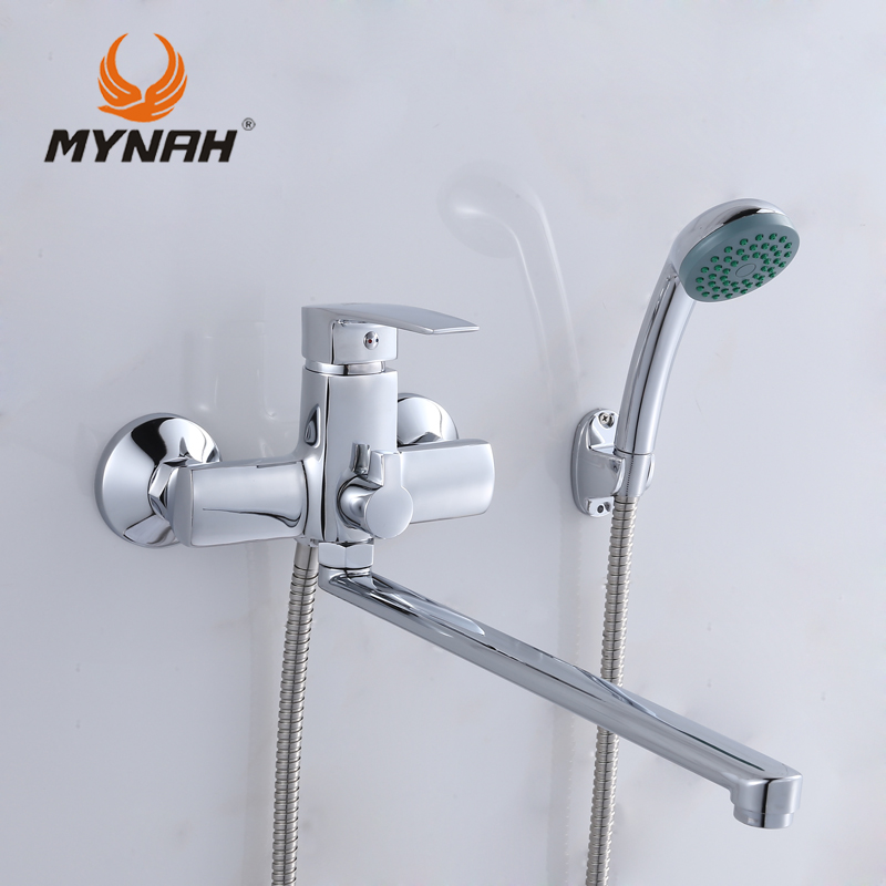 MYNAH Russia Free Shipping Bathroom Faucet Shower Faucets Bath Mixer Shower System Tropical Shower Shower Rack