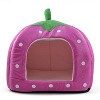 Soft Sponge Strawberry Pet Bed House Cushion Basket Pillow Pink L