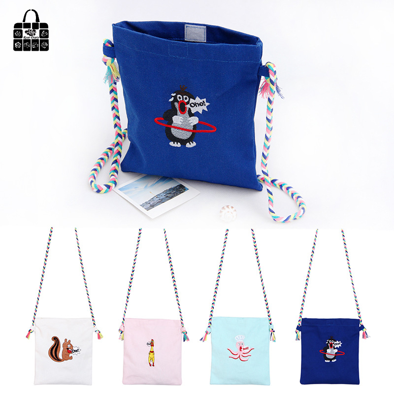 Wallet Canvas-Bag Shoulder-Bag Embroidery Women New-Fashion ROSEDIARY Girl Fresh Phone