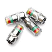 4PCS Car Tire Valve Caps Pressure Gauge Monitor Indicator Tpms Monitoring Cap Sensor 3 Color Alert