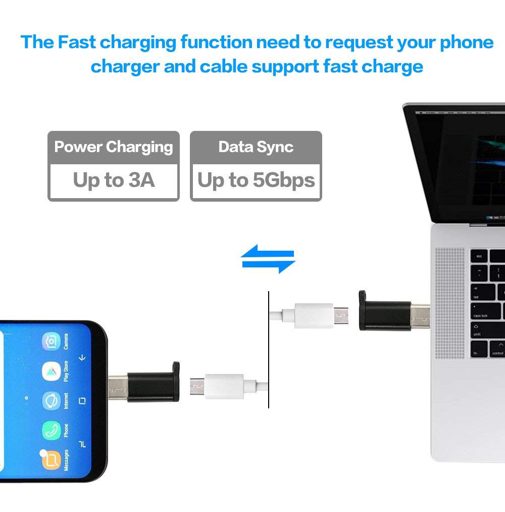 Ascromy Micro USB to Type C Converter Adapter For Huawei P20 Pro Xiaomi Mi 8 Mi8 Samsung Galaxy S9 S8 Oneplus 6 6T USB C Type-C (3)