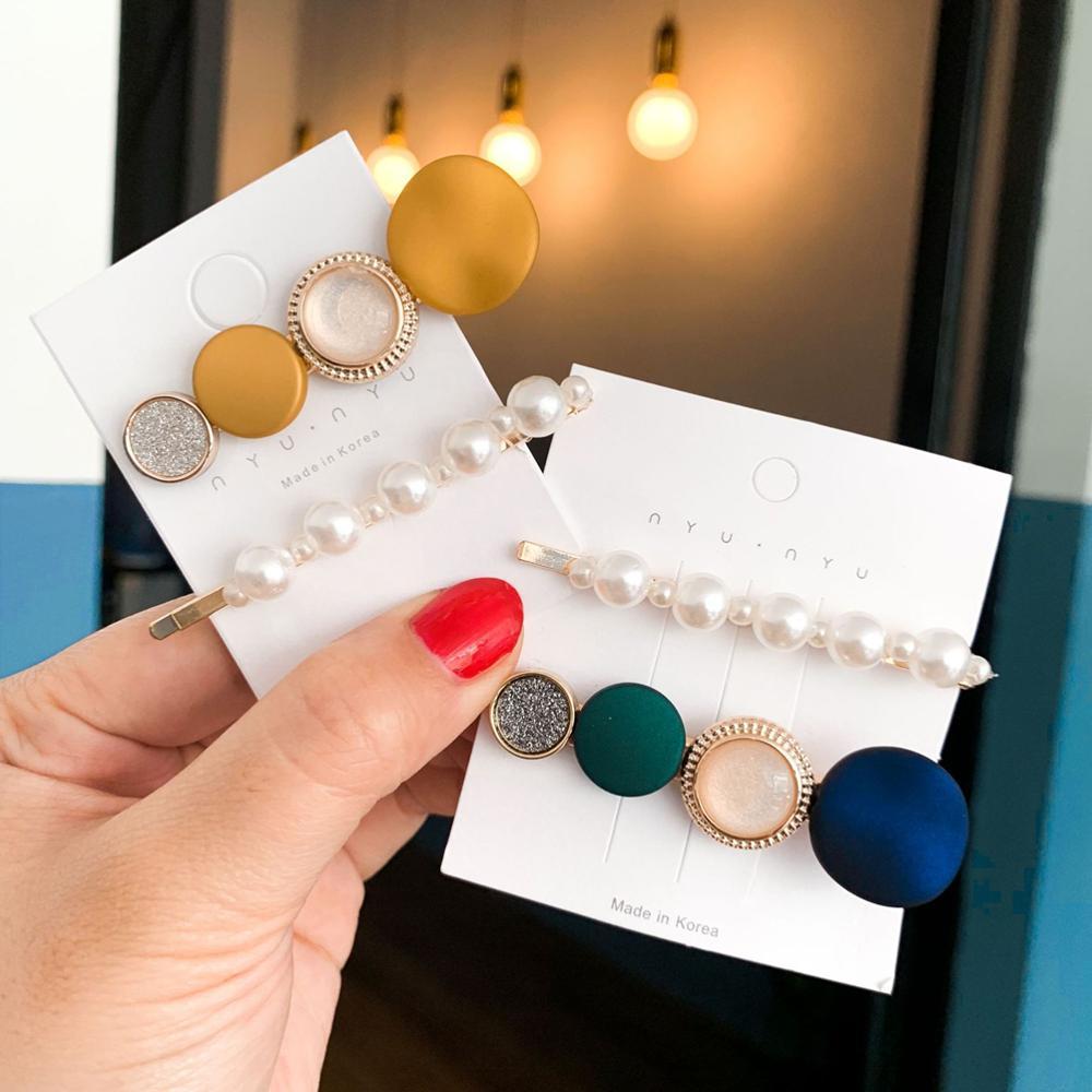 Macaron Color Crystal Barrettes Pearl Metal Hair Clips Geometric Resin Hairpins for Girl/Women Hair Accessories Korean Side Clip
