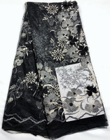 Free shipping (5yards/pc) black color French net lace fabric with appliqued 3D flowers and beads for party dress FL3954