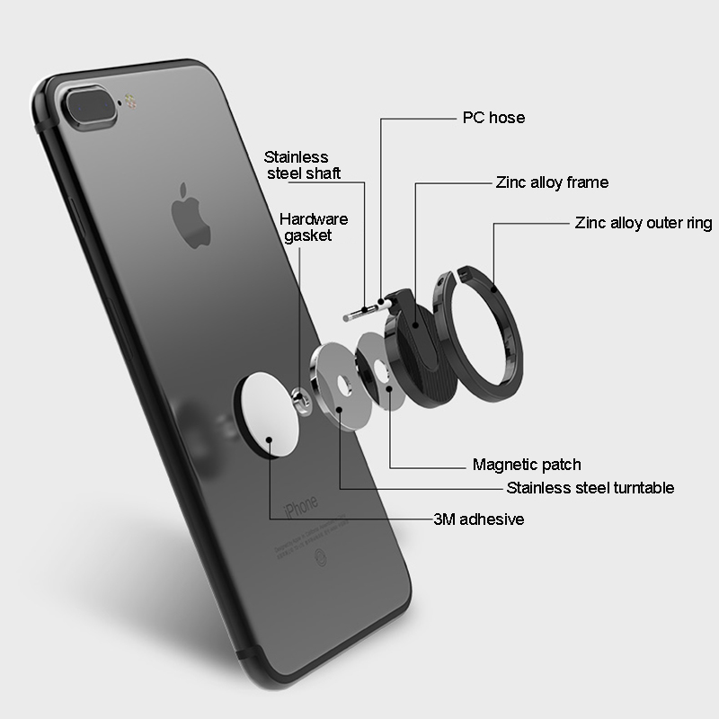Universal Finger Ring Phone holder For iPhone 7 8 Plus Samsung S9 S8 S7 360 Degree Alloy Holder for iPhone X 6 6S plus Xiaomi