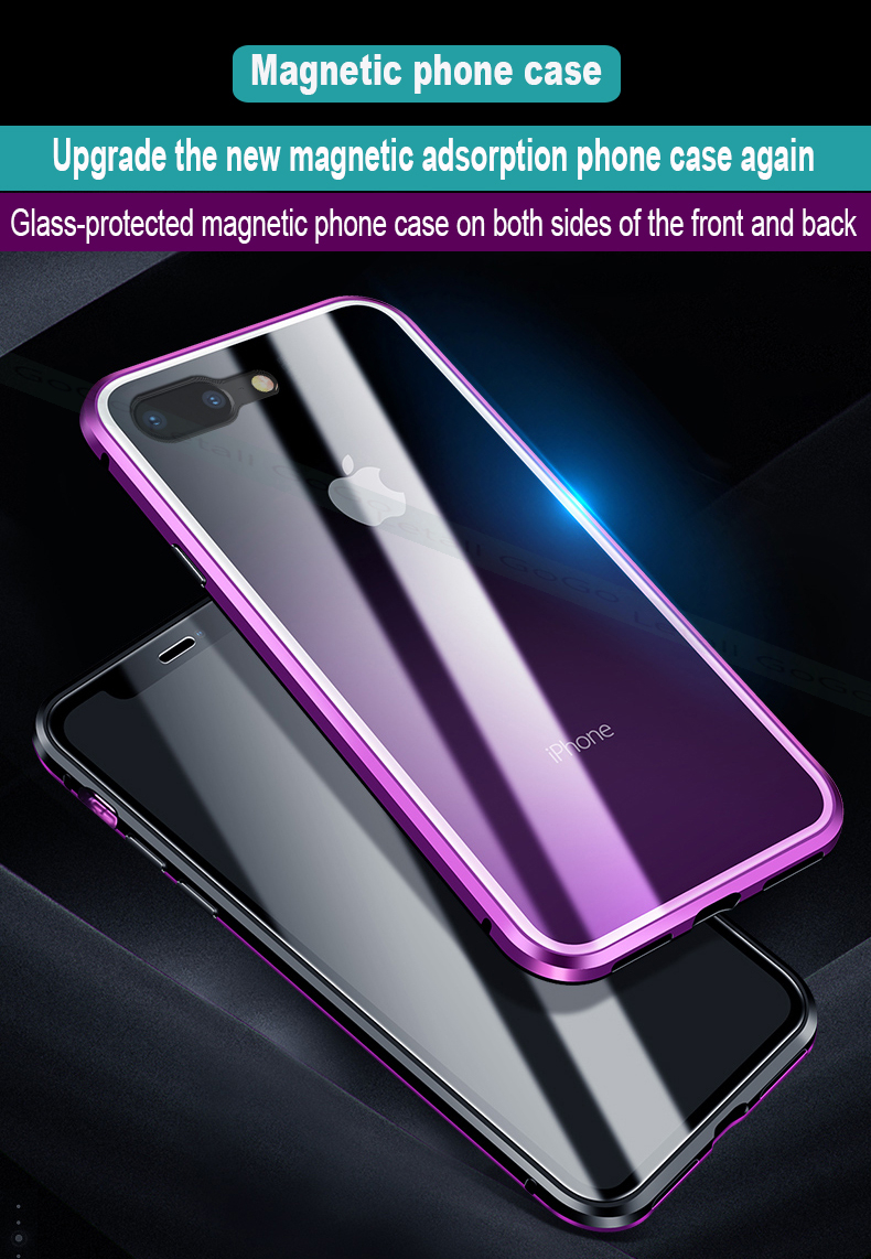 Magnetic clear  tempered glass Metal phone cover case  (1)