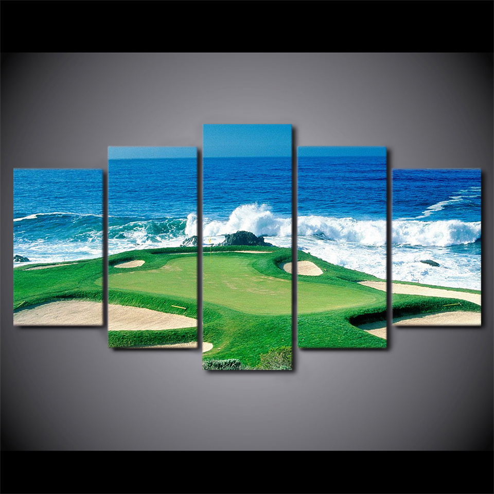 Office Pictures For Walls Golf: Canvas Paintings Printed 5 Pieces Golf Course Wall Art