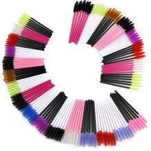 50pcs Disposable Eyebrow Brush Eyelash Brush Color Long Handle Can Bent Convenient Eyelash Brush Makeup Eyelashes Comb 21 Style