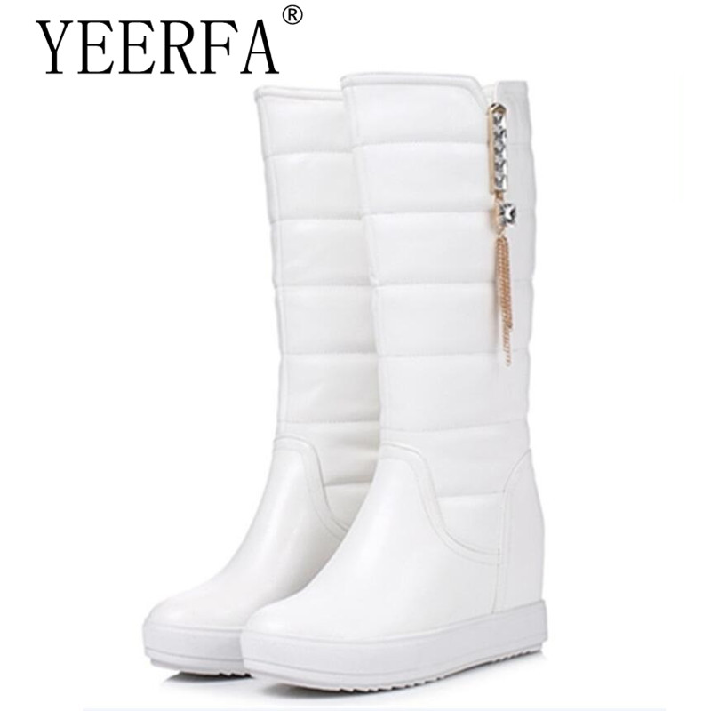 2018 Keep warm mid calf boots woman PU fashion snow boots in winter height increasing half boots platform shoes size 34-39 купить дешево онлайн