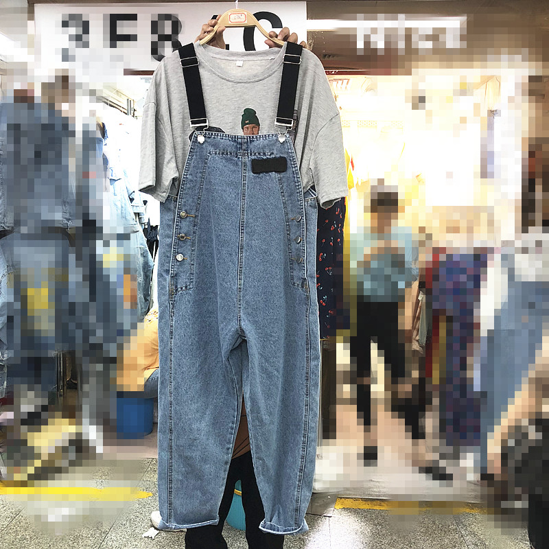 Cowboy Strap Pants Female 2019 Summer New Sling Jean Women Loose Fashion Denim Trousers Overalls Girls Students Jeans Jumpsuit